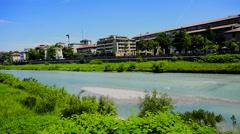 Parma river from pilotta bridge Stock Footage