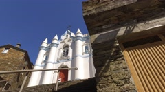 Old church Stone Houses of Classic Portuguese Historic Village Piodao 4k Stock Footage