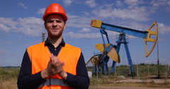 Petrochemical Production Professional Worker Man Talking Looking Camera Smiling Stock Footage