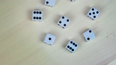 White gambling dices with black dots. turntable Stock Footage