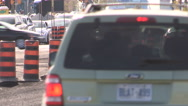 Road construction and traffic jam Stock Footage