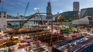 Timelapse of construction site, modern skylines and district as background. Stock Footage