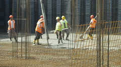 Workers using truck mixer pump to  concreting floor by Sheyno. Stock Footage
