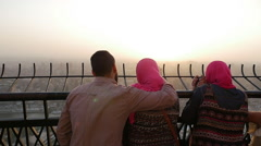 Change Thumbnail  people watching Cairo from the observation platform Stock Footage