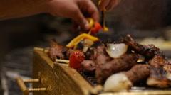 Egypt BBQ restaurant macro plan Stock Footage