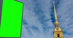 Billboard green screen in St. Petersburg. timelapse Stock Footage