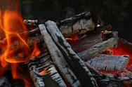 Blaze of bonfire wood fire flame spires in fireplace Stock Photos