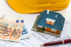 Concept of real estate business management and accounting Stock Photos