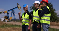Lunch Break Worker Men Eating Sandwich Oil Pump Unit Petroleum Industry Field Stock Footage