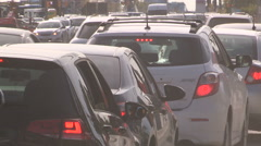 Bumber to bumper traffic and road construction Stock Footage