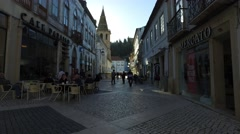 Market street  in Tomar city- Portugal Stock Footage