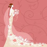 Bride on pink background Stock Illustration