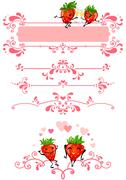 Cartoon strawberry and pink decorations Stock Illustration