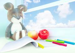 Toy rabbit, apples, album, colored pencils on the windowsill. 3D rendering Stock Illustration