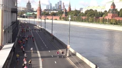 RUSSIA, MOSCOW City marathon amateur runners on the Stock Footage