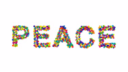 Colorful spheres forming the word peace Stock Footage