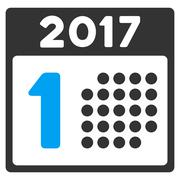 First 2017 Day Flat Vector Icon Stock Illustration