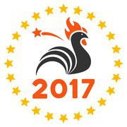 2017 Rooster Year Celebration Flat Vector Icon Stock Illustration
