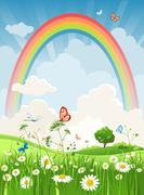 Summer day with rainbow Stock Illustration