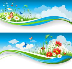 Summer floral banners Stock Illustration