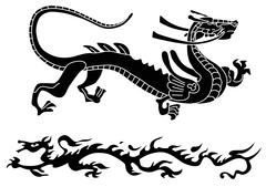 Two ancient dragons Stock Illustration