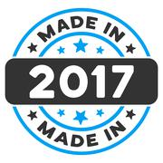Made In 2017 Round Seal Flat Vector Icon Piirros