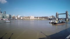360 degree timelapse of Thames and Tower Bridge Stock Footage