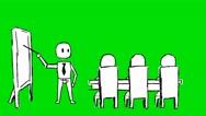 Businessman Teacher Professor Class - Animation - Hand-Drawn - Green Screen - Stock Footage