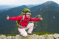 Hiker in mountains Stock Photos