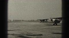 1946: propeller airplanes taxi on tarmac runway getting ready for takeoff. Stock Footage