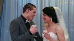 Newlywed drinking champagne at wedding recieption Stock Footage