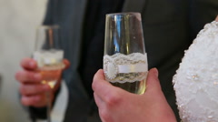 Celebration toast with champagne at wedding reception Stock Footage