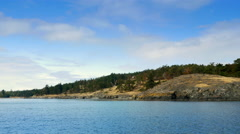 4K Pacific Northwest Coast Island, Ocean Landscape Travel by Boat Stock Footage