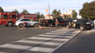 Car accident scene in city intersection Stock Footage
