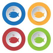 Set of four icons - grilling fish with smoke Stock Illustration