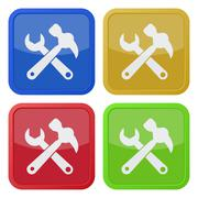 Set of four square icons, claw hammer with spanner Stock Illustration