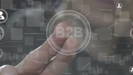 Businessman push online B2B button network icon Stock Footage