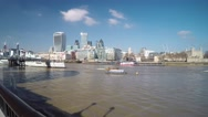Timelapse of river Thames and the view of city Stock Footage