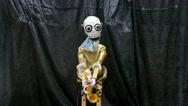 Saxophone skeleton marionette Stock Footage
