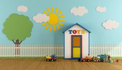 Colorful Playroom with wooden house Stock Illustration