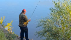 Man measures by a float marker bottom depth. Stock Footage