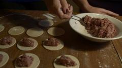 Preparation of the ravioli or meat dumplings Stock Footage