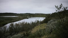 View of the Icelandic Countryside with River Stock Footage