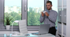 Good Looking Business Man Sending Message Partner with Mobile Phone Office Day Stock Footage