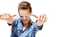 Competitive young guy wearing trendy eyeglass Stock Photos