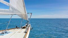 4K Sailing Boat Yacht Bow, Blue Ocean Horizon, Nautical Cruise Sea Travel View Stock Footage