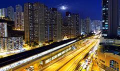 Kwun tong downtown at night Stock Photos
