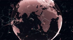Futuristic spinning Earth globe and connections Stock Footage