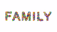 Colorful balls forming the word family Stock Footage