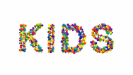 Colorful globes forming the word kids Stock Footage